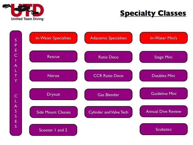 Diagrama de las especialidades de buceo